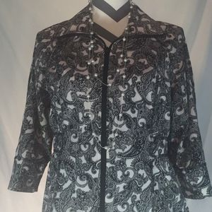 Allison Daley Womens Blouse 3/4 Sleeve  Sz 4P Zip